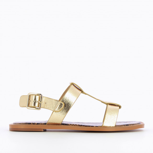 Gold flat sandals textured effect with thick straps woman Vanessa Wu camel sole snakeskin print