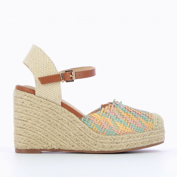 Wedge sandals woven multicolor pastel green yellow pink with fringes woman Vanessa Wu rope heel