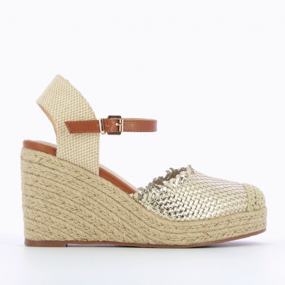 Wedge sandals woven gold with fringes rope heel beige and ankle strap camel woman Vanessa Wu