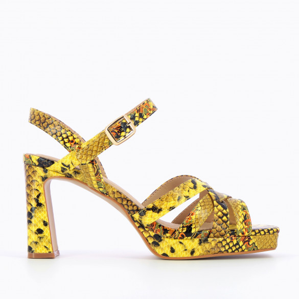 Yellow sandals with heel and platform Vanessa Wu woman snakeskin print and crossed straps
