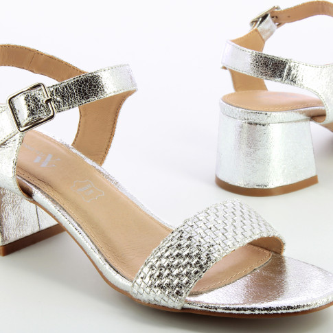 Silver sandals with block heel and woven strap