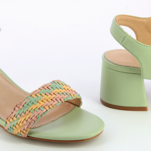 Spring green sandals with block heel and woven strap