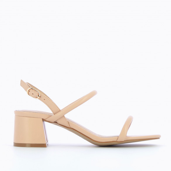 Nude minimalist sandals woman Vanessa Wu with block heel and rounded straps
