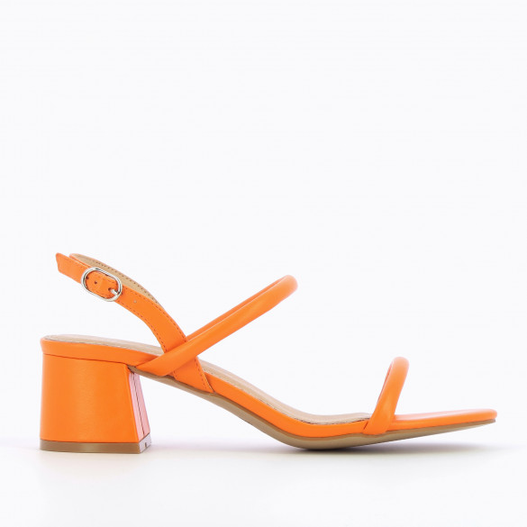 Sandals with heel minimalist bright orange woman Vanessa Wu with block heel and rounded straps