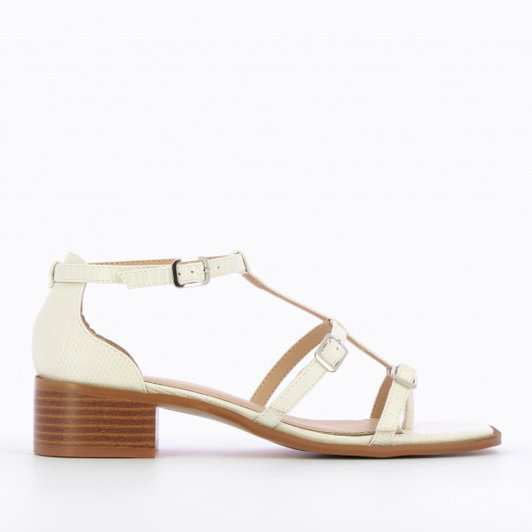 White sandals with small heel and fine straps in faux leather snakeskin effect woman Vanessa Wu