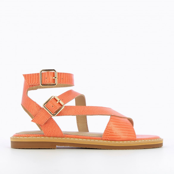 flat coral sandals woman snakeskin effect with high crossed straps Vanessa Wu and thick sole