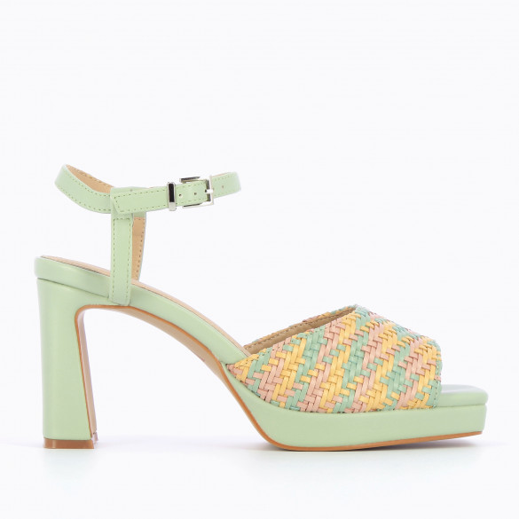 Light jade green sandals and platform with woven multicolored pastel strap woman Vanessa Wu