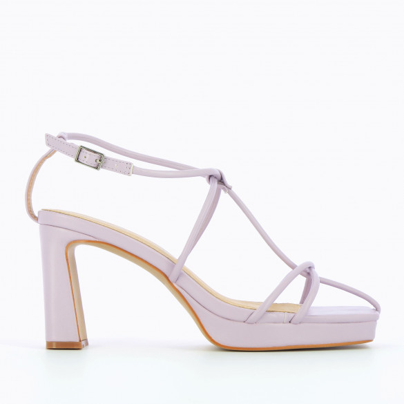 Lilac sandals with heel nineties fine crossed straps platform an square toe woman Vanessa Wu