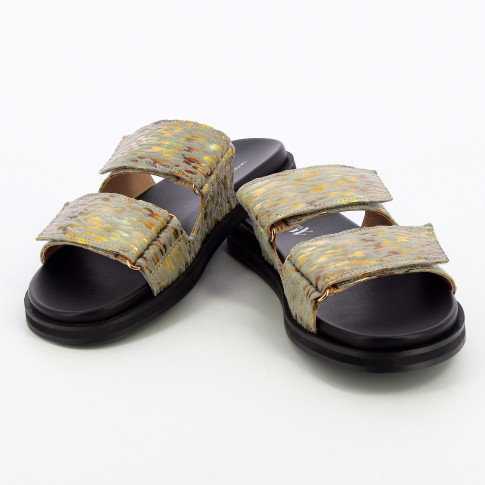 Gray and gold mules with velcro
