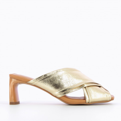 Gold mules with double upper