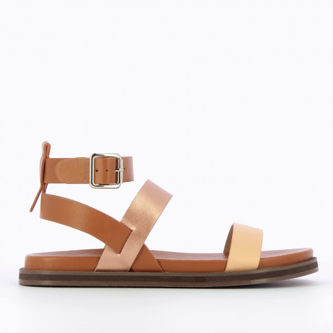 Camel flat sandals with rose gold and pale pink straps