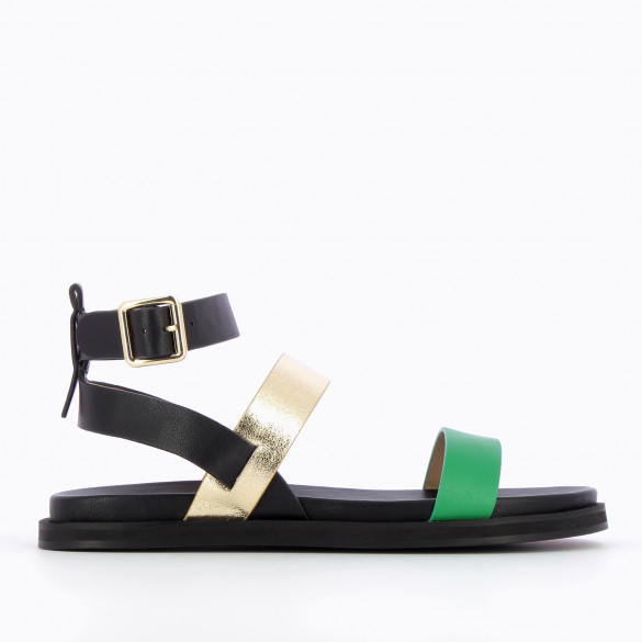 Flat sandals black woman Vanessa Wu with straps gold and green platform sole