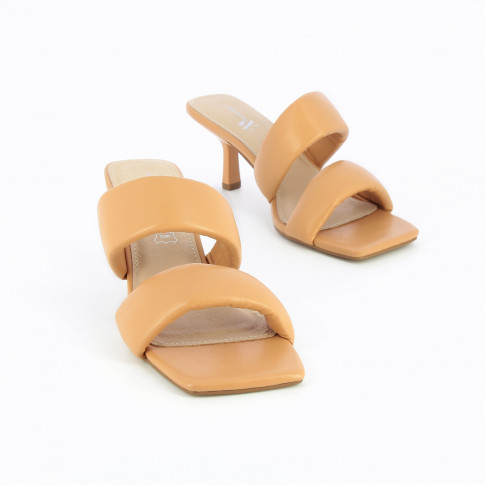 Nude mules with padded straps