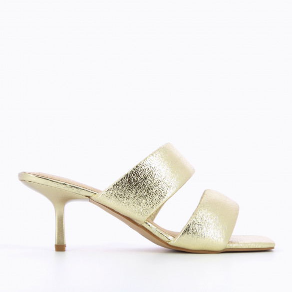 Gold mules textured nineties with padded straps kitten heel and square toe woman Vanessa Wu