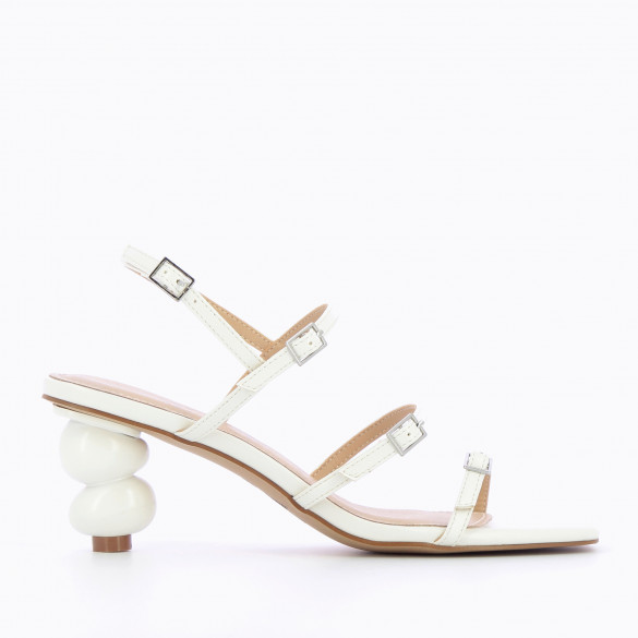 white minimalist sandals with fine straps and sculpted ball heel woman Vanessa Wu square toe