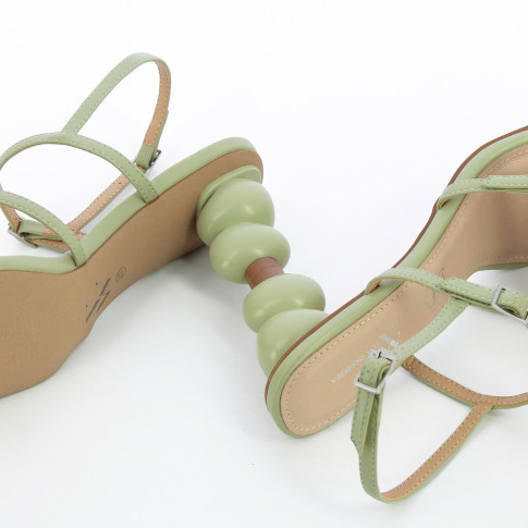 Almond green sandals with ball heel