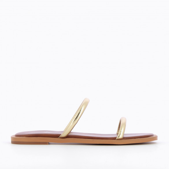 minimalist gold mules Vanessa Wu with rounded straps and camel sole padded woman chic