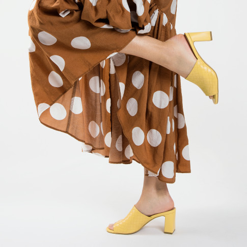 Yellow woven effect mules with heel