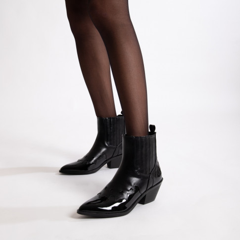 Black cowboy ankle boots with patent leather toe