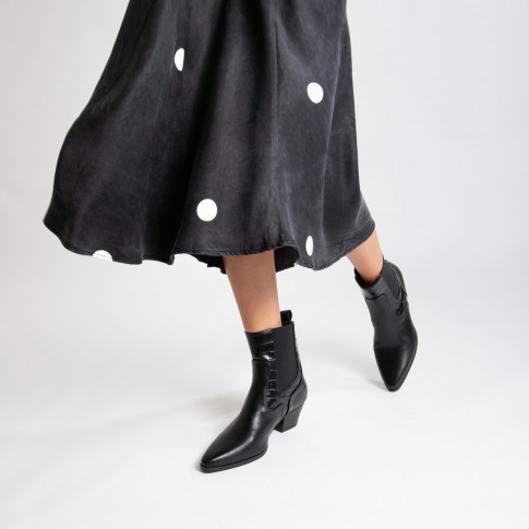 Black cowboy ankle boots with croco effect cutout