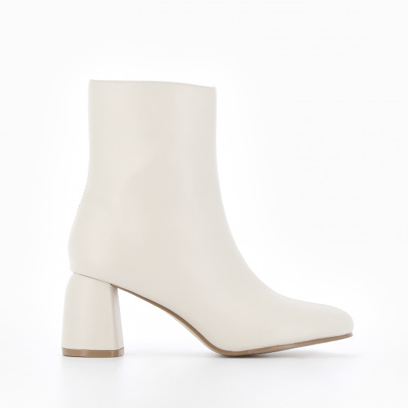 Beige ankle boots with round heel in smooth faux leather and round toe with frontal topstitch woman